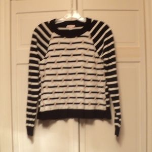 NWOT Merona Black/White w/Gold Accents Sweater